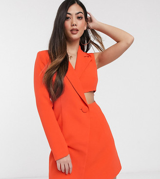 4th + Reckless Petite exclusive one sleeve blazer dress in orange
