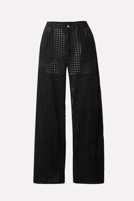 Fleur Du Mal Broderie Anglaise Cotton-voile Straight-leg Pants - Black