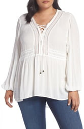 Seven7 Lace-Up Crinkled Jacquard Top(Plus Size)