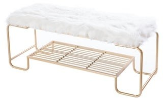 Silver Orchid Punkosdy Rectangular Gold Metal Entryway Bench