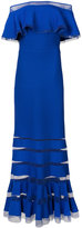 Tadashi Shoji off-shoulders ribbed gown - women - Nylon/Spandex/Elastane/Rayon - XS