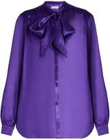 Balenciaga Neck-tie silk-satin blouse
