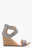 Maison Martin Margiela Grey criss-crossing nubuck Wedge Sandals