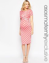 Asos Body-Conscious Dress In Polka Dot With Cross Front