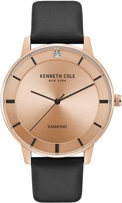 Kenneth Cole New York Diamond Rose Goldtone Stainless Steel Leather Strap Watch