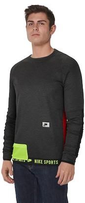Nike Therma Fleece PX Pullover Crew Sweatshirt - Black Heather / Electric Green