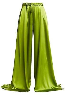 Brandon Maxwell Women's Silk Drawstring Palazzo Pants