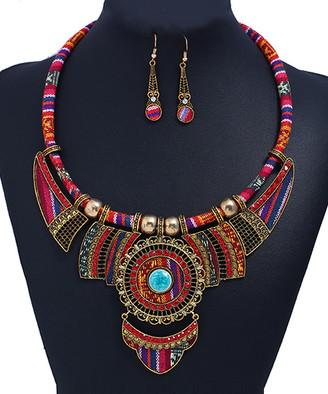 Bohemia Ella & Elly Women's Earrings Purple - Red & Goldtone Statement Necklace & Drop Earrings