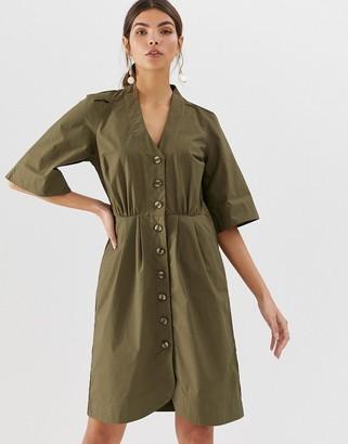 Y.A.S cotton button through mini dress-Cream