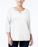 Karen Scott Plus Size Buckle Embellished Top, Only at Macy's