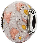 Murano Prerogatives Sterling White & Pink Floral Italian Bead