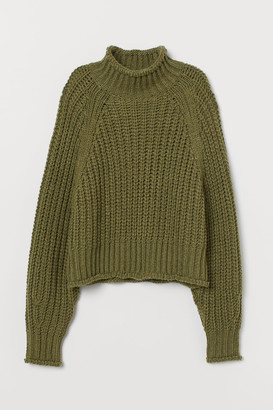 H&M Ribbed Turtleneck Sweater - Green
