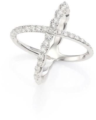 Hearts On Fire Lorelei Diamond & 18K White Gold Crisscross Ring