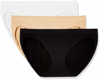 Layla's Celebrity Women's Seamless Hi-Cut Panties Nylon Spandex Underwear 3 Pack(Bikini/Black White Nude/L)