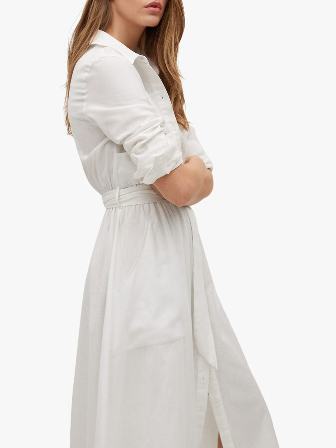 Thumbnail for your product : MANGO Belted Shirt Dress, White