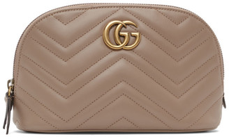 Gucci Taupe GG Marmont 2.0 Quilted Cosmetic Case