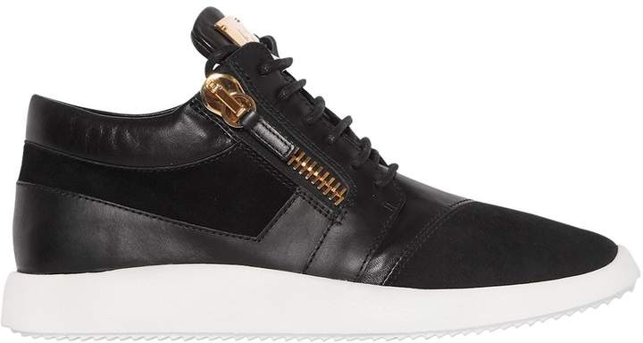 Giuseppe Zanotti Design Suede & Brushed Leather Running Sneakers