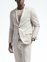 Banana Republic Slim Heritage Cream Cotton Linen Suit Jacket