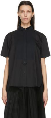 Sacai Black Poplin Half Button-Up Shirt