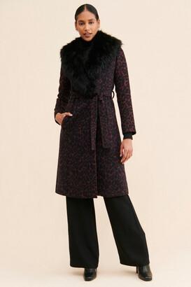 Badgley Mischka Faux Fur Trim Wrap Coat