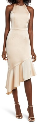 Lavish Alice Satin Asymmetrical Halter Midi Dress