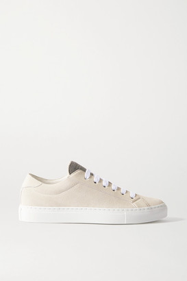 Brunello Cucinelli Bead-embellished Suede Sneakers - Off-white