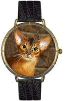 Whimsical Watches Women's N0120033 Abyssinian Cat Black Leather And Goldtone Photo Watch