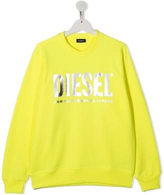 Diesel TEEN metallic logo print sweatshirt