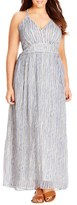 City Chic Metallic Plait Trim Stripe Maxi Dress (Plus Size)