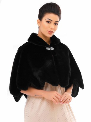 Unicra Women's Black Sleeveless Faux Fur Shawl Wedding Fur Wraps and Shawls Bridal Fur Stole for Brides and Bridesmaids