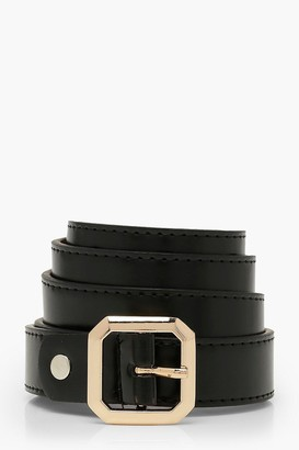 boohoo Square Detail Buckle PU Boyfriend Belt