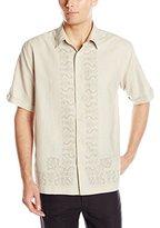 Cubavera Men's Short Sleeve Printed L Shape Woven Shirt