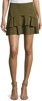 Haute Hippie Flirty Tiered Grommet Silk Skirt, Green