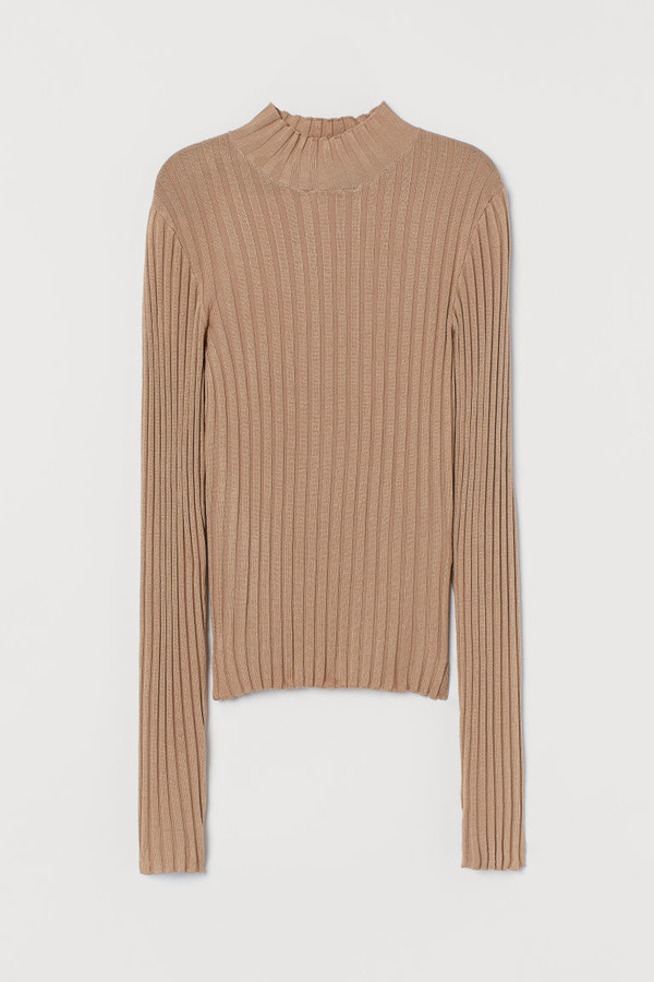 H&M Fitted Turtleneck Sweater - Beige