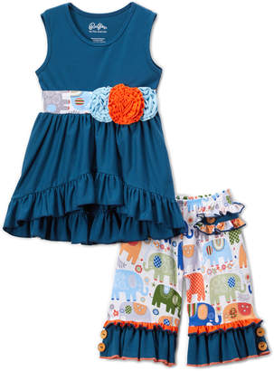 Lulu Ruffles by Tutu and Girls' Casual Dresses - Cobalt Flower Ruffle-Trim Hi-Low Tunic & White Elephant Shorts - Toddler & Girls