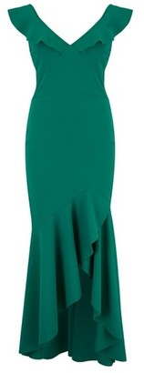 Dorothy Perkins Womens Girls On Film Green Peplum Maxi Dress, Green