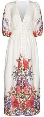 Zimmermann Poppy floral linen midi dress