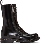 Dolce & Gabbana Black Patent Leather Combat Boots