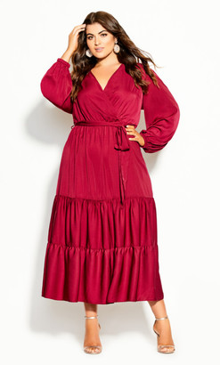 City Chic Pretty Tier Maxi Dress - sangria