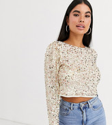 Asos DESIGN Petite long sleeve top with sequin embellishment