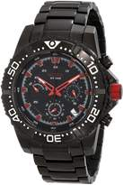 Redline Red Line Men's Racer Chrono Black Dial Red Accents Black Ion Plated Stainless Steel