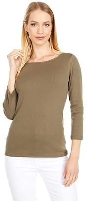 Lilla P 1x1 Rib 3/4 Sleeve Boatneck Top (Dark Navy) Women's Clothing