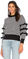 Endless Rose Ruffle Sleeve Detail Stripe Sweater in Black. - size L (also in M,S,XS)
