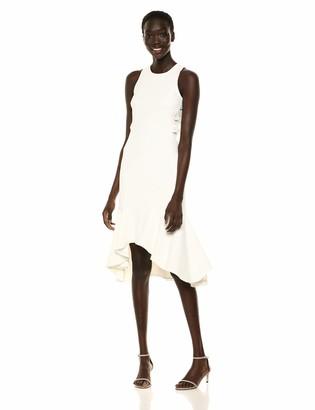 Halston Women's Sleeveless Flounce Hem Dress with Twist Detailing