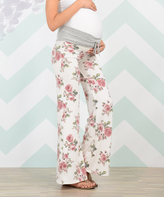 Love Story White & Pink Floral Maternity Pants