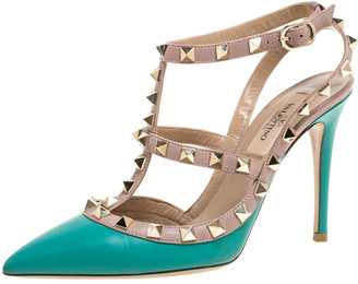 Valentino Aqua Blue/Beige Leather Studded Ankle Strap Pointed Toe Sandals Size 35