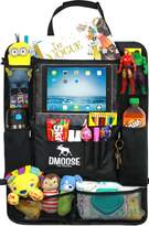 Car Backseat Organizer with Tablet Holder for Kids and Toddlers by DMoose 24-Inch-by-19-Inch – Insulated Thermal Pockets, Strong Buckles - Use as Seat Back Protector, Kick Mat, Car Organizer