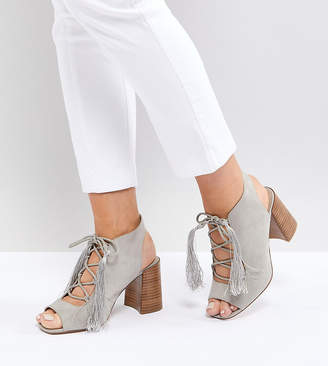 Asos Design TONIC Wide Fit Lace Up Heeled Sandals-Grey