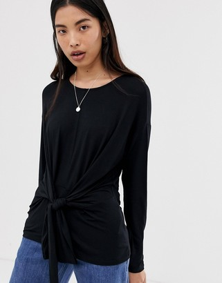 Only knot long sleeve top-Black