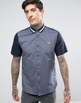 Fred Perry Short Sleeve Shirt Bomber Stripe Collar In Navy